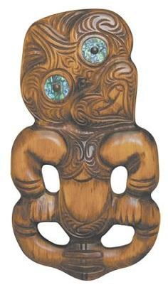 This Maori Tiki is made from native timber (matai) and has a hole on the back so you can hang him wall.