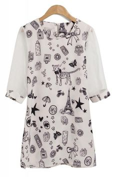 White Organza Round Neck Short Sleeve Print Dress