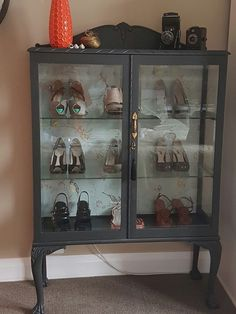 Used graphite chalk paint and then dark wax only - trophy. Refurbished Furniture, French Furniture, Upcycled Furniture, Painted Furniture, Home Furniture, Vintage Furniture, Antique China Cabinets, Glass Cabinets, Display Cabinets