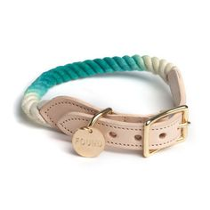 Brooklyn-Made Rope Collar for Dog and Cat in Teal Ombre