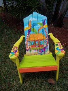 Items similar to Tropical Adirondack Chair Handcrafted Hand Painted Flamingo Beach Paradise Palms on Etsy Funky Painted Furniture, Painted Chairs, Rustic Furniture, Cool Furniture, Decorated Chairs, Painted Tables, Decoupage Furniture, Metal Chairs, Furniture Design