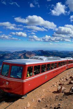 Pikes Peak Cog Railway Colorado . 14,000 ft up is pretty high.