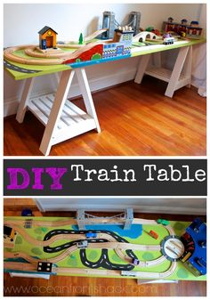 DIY narrow train table with sawhorse base great for small spaces & Train Sets: Airport Express Train Set and Table   Toys Indoor Play ...