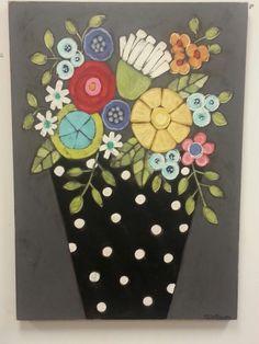 Bright flowers, acrylics on wood. Mary De Maagd