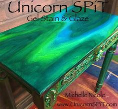 Unicorn Spit Wood Gel Stain & Glaze or Use on Wood Glass Metal Fabric. This item is for Unicorn Spit-Wood Stain And G… – garage Hand Painted Furniture, Funky Furniture, Refurbished Furniture, Paint Furniture, Repurposed Furniture, Furniture Projects, Furniture Makeover, Furniture Nyc, Furniture Design