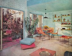 Mid century basement transformed into a beautiful retro family room. The American Home, 1956. http://www.retrorealtygroup.com