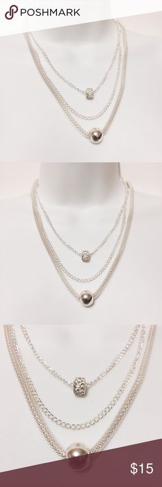 """⭐️ Triple Strand with Charms Necklace Silver Triple the charm! The perfect piece for the season. Three necklaces for the price of one. Length: 16"""", 18"""" & 20"""". Lobster claw closure with 3"""" extender. Fashion jewelry Jewelry Necklaces"""