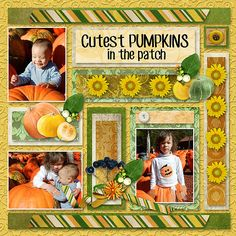 Three Digital Sides of a Page Challenge - October 2015  (Create a digital scrapbooking layout with the color green, a pumpkin and the number 3) @ gottapixel.net  Example 2