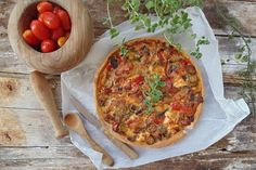 Vegetable Pizza, Quiche, Vegetables, Breakfast, Tomatoes, Recipes, Cheese, Cooking, Food