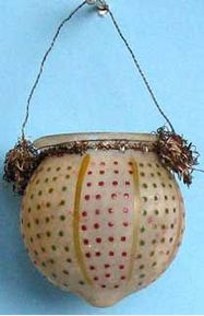 Hanging, blown glass candle holder, trimmed with tinsel, Christmas tree ornament