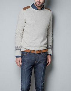 Sweater with Shoulder Appliques Knitwear - Zara Men.