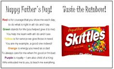 Skittles! Fathers day ideas.
