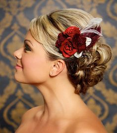 Very beautiful unique idea for the bride....Red Bridal Hair Clip Fascinator Red Rose Ivory Bridal Hair Flower Wedding Headpiece Vintage Flowers - Made to Order - BEVERLY design