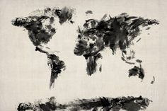 Map of the World Map Abstract Painting Premium Giclee Print