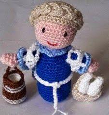 PATRON GRATIS LECHERA BELEN AMIGURUMI Crochet Dolls, Crochet Hats, Nursery Rhymes, Little People, Handmade Toys, Crochet Projects, Nativity, Diy And Crafts, Crochet Patterns