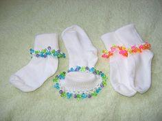 Cute crocheted beads on sox