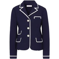 Tory Burch Carrie Blazer (£315) ❤ liked on Polyvore featuring outerwear, jackets, blazers, navy blue, cropped blazer, navy jacket, navy blue jacket, blue dinner jacket and navy cropped blazer