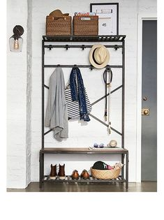 Shop Pottery Barn for expertly crafted small entryway furniture. Find stylish and durable mudroom furniture including hall trees, coat racks, shelving and more. Entryway Furniture, Apartment Furniture, Entryway Decor, Furniture Ideas, Furniture Logo, Metal Furniture, Cheap Furniture, Discount Furniture, Pottery Barn Entryway