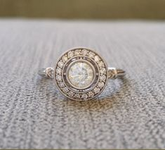 Moissanite and Diamond Halo Antique Engagement by PenelliBelle