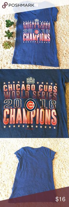 """Chicago Cubs World Series 2016 T-shirt Size Small Chicago World Series 2016 women's v-neck Tshirt size small. NWOT. Armpit to armpit 15"""" length 24"""" Tops Tees - Short Sleeve"""