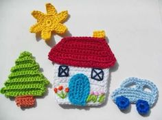 Elements of The Perfect - ev-orgu-aplikeler - Photo Design Crochet Car, Crochet Gifts, Baby Blanket Crochet, Crochet For Kids, Crochet Toys, Crochet Applique Patterns Free, Baby Knitting Patterns, Crochet Motif, Crochet Flowers