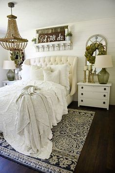 farmhouse tuffed headboard from Liz Marie Blog for master bedroom