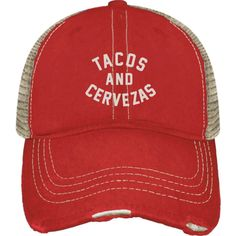 a1554d0efc2b7 Trucker hat with a mesh back - Worn weathered look - Tacos   Cerveza design