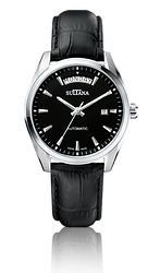 Model 383104 Mens Sultana watch Black leather and stainless steel Black Leather, Stainless Steel, Jewels, Watches, Model, Accessories, Bijoux, Clocks