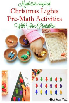 Easy Montessori-inspired Pre-math activities with wooden Christmas lights for toddlers and preschoolers. Includes free patterning and counting christmas lights printables.