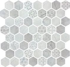 Artisan Solid Glass Mosaics by Lungarno is a combination of classic natural stone and whimsical patterned glass in a hexagon shape. Hexagon Tile Backsplash, Hexagon Mosaic Tile, Glass Mosaic Tiles, Stone Mosaic, Tile Mosaics, Kitchen Backsplash, Shower Accent Tile, 3d Max, Stone Flooring