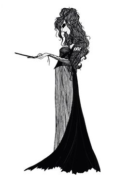 A beautifully gothic drawing of Bellatrix Lestrange from Harry Potter.«««« I don't like hp much anymore but Bellatrix used to be my favorite character. Images Harry Potter, Harry Potter Fan Art, Harry Potter Universal, Harry Potter World, Bellatrix Lestrange, Slytherin, Gothic Drawings, Culture Pop, Fanart