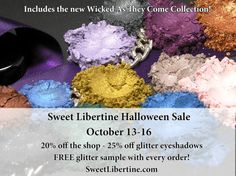 Today is the last day for our Halloween sale! It's the last chance to stock up on glitter eyeshadows for your Halloween funat 25% off. The rest of the shop is