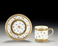 SÈVRES COFFEE CAN AND SAUCER CIRCA 1782