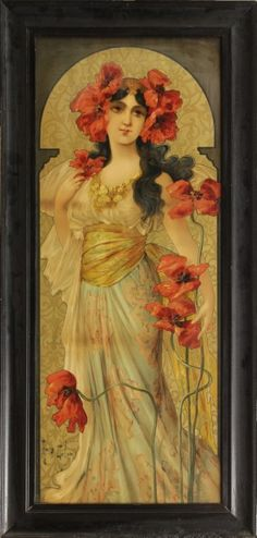 Art Nouveau color lithograph, Adorned with Poppies, by Mary Golay (British, 1869-1944) | JV