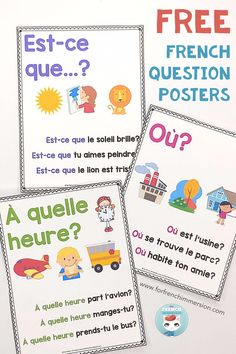 French Question Words: FREE posters - For French Immersion French Language Lessons, French Language Learning, French Lessons, Learning Spanish, Spanish Lessons, Spanish Language, Spanish Activities, Dual Language, Learning Italian