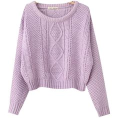 Chicnova Fashion Solid Cable Knit Cropped Sweater ($22) ❤ liked on Polyvore featuring tops, sweaters, shirts, long sleeves, purple long sleeve shirt, chunky cable knit sweater, purple crop top, crop shirt and long sleeve shirts