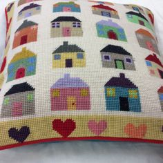 Sue's Quilt Houses and Hearts tapestry, in her own colours. Cross Stitch House, Cross Stitch Pillow, Cross Stitch Cards, Cross Stitch Embroidery, Needlepoint Designs, Needlepoint Pillows, Cross Stitch Designs, Cross Stitch Patterns, Hello Kitty Imagenes