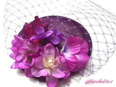 Fascinator Headpiece *NELE* Kopfschmuck so violett von Lebenslust2in1 auf DaWanda.com