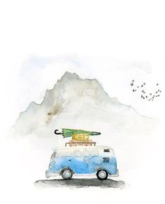 Items similar to Travel Inspired Art : VW Bus Watercolor Art Print / Wanderlust Print / Outdoor Nature Inspired Art / Mountain and Travel Themed Art on Etsy - picture for you Watercolor Sketch, Watercolor Landscape, Watercolor Paintings, Watercolours, Watercolor Trees, Watercolor Portraits, Abstract Paintings, Bus Art, Art Aquarelle