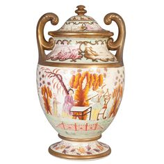 English Chinoiserie Decorated Pottery Urn  19th Century  With scrolled arms, the ovoid body painted with figures in a landscape, on a splayed foot.