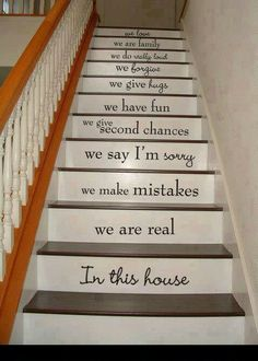 Love the idea of quotes on the stairs!