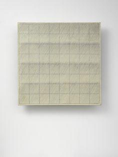 Park Seo-Bo - Ecriture (描法) No. 1967 Pencil and oil on canvas 25 × 25 in. Art Walk, Colour Field, Korean Art, Oil On Canvas, Seo, Cube, Pencil, Park, Abstract