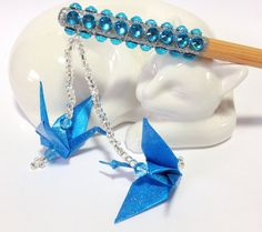 One of my own creations: Bling Blue Birthday Party Origami Cranes by FlyingCraneOrigami, $10.99