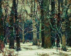 """""""In Snowy Silence,"""" John Fabian Carlson, oil on canvas, 16 x 20"""", private collection."""