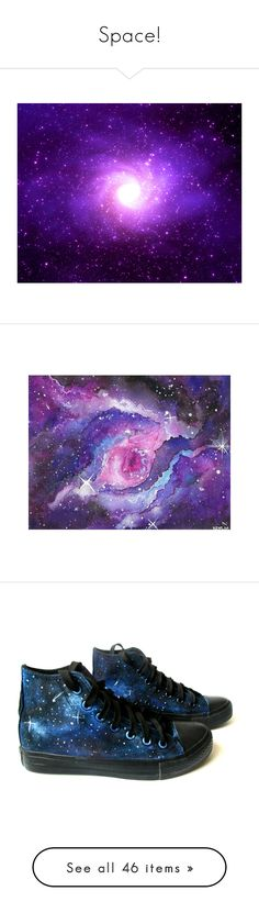 """Space!"" by galaxyrewind ❤ liked on Polyvore featuring backgrounds, pictures, purple, galaxy, space, filler, borders, picture frame, shoes and sneakers"
