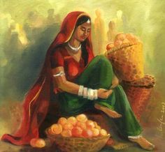 fruit seller - oil painting on canvas