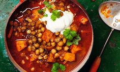Yotam Ottolenghi's roasted pumpkin soup with harissa and crisp chickpeas | The Guardian