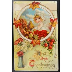 Thanksgiving Postcard Gel Card Pilgrim Maiden Autumn Leaves Flowers... ($17) ❤ liked on Polyvore featuring home, home decor and stationery