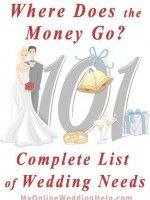 Wedding 101: Where all the money goes. Complete list of planning needs. | MyOnlineWeddingHelp.com