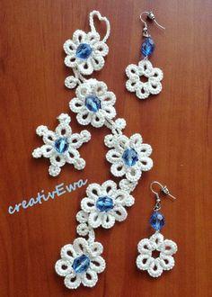 Original set - tatted bracelet, earrings and pendant. You can buy it #Jewelry| http://ringslera.blogspot.com
